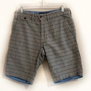 QUIKSILVER Gray and Teal Striped Shorts